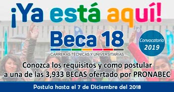 BECA 18: Conozca los requisitos, beneficios y como postular - Convocatoria 2019 - PRONABEC