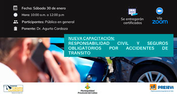 Capacitación Virtual Gratuita: Responsabilidad Civil y Seguros Obligatorios por Accidentes de Tránsito